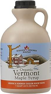 Hidden Springs Organic Vermont Maple Syrup, Grade A Amber Rich, 32 Ounce, 1 Quart, Family Farms, BPA-free Jug