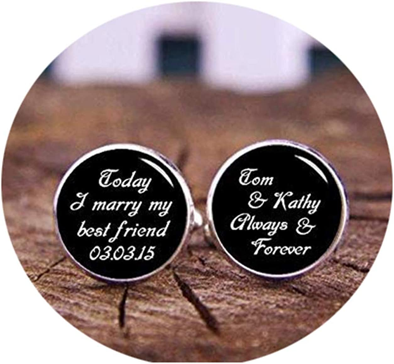 Death Devil Custom Cuff Links,Today I Marry My Best Friend, Always and Forever Cufflinks, Personalized Wedding Cufflinks, Handmade Cuff Link for Grooms Fiance, Groom Gift,Gift of Love