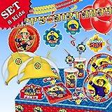 FEUERWEHRMANN SAM Geburtstag-Deko-Set, 89-teilig zum Kindergeburtstag Jungen und Mädchen und Feuerwehr-Motto-Party für 8 Kids