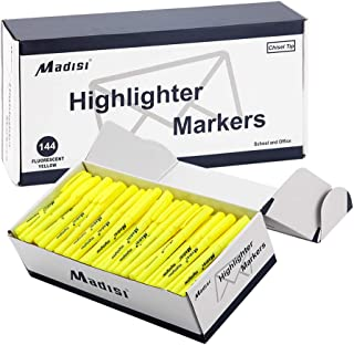 Madisi Highlighters, Chisel Tip, Fluorescent Yellow, Bulk Pack, 144-Count