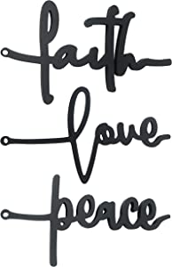 DLVD Peace Faith Love Wall Decor Cross, Set Of 3 Wood Rustic Decor Word Sign, Wooden Wall Art Home Decor Signs, Inspirational Hanging Word Decorations for Home, Office, Living Room, Kitchen, Wedding