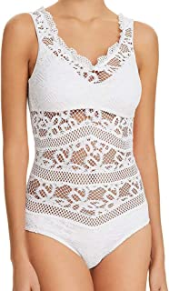 993f871a13a5f Becca by Rebecca Virtue One Piece Swimsuit V-Neck Crochet Lace Ruffle Trim  Sheer Maillot