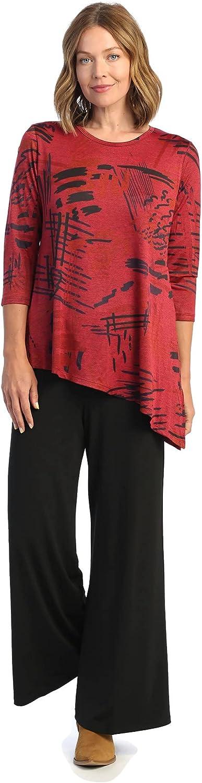 Jess & Jane Women's Fiesta Asymmetrical Slinky Knit Tunic Top