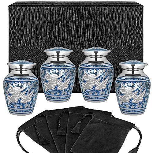Wings of Love Small Keepsake Urns For Human Ashes - Set of 4 - Beautiful and Timeless Find Comfort Everytime You Look At These Mini Cremation Urns - With Case and 4 Velvet Bags