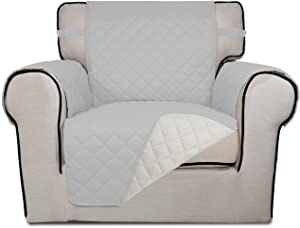 PureFit Reversible Quilted Sofa Cover, Water Resistant Slipcover Furniture Protector, Washable Couch Cover with Non Slip Foam and Elastic Straps for Kids, Pets (Chair, Light Gray/Ivory)