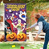 Halloween Toss Games Banner with 3 Bean Bags Achort Halloween Party Activities Decoration Kids Game Banner Indoor and Outdoor Supply Set with 21.2ft Ribbon for Children Adults 53.1 * 29.5in