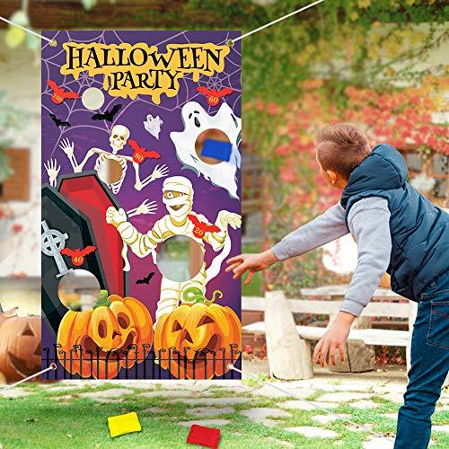Achort Halloween Toss-Spiele mit 3 Sitzsäcken, Hängend Werfen Spiel Party Lieferungen Geburtstag Dekorationen, Sitzsack Spiel Sets für Kinder Erwachsene bei Party-Aktivitäten Draußen Drinnen Spiele
