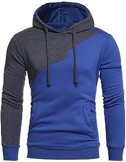 UUYUK Men's Casual Color Block Long Sleeve Slim Fit Pullover Hoodies Sweatshirt