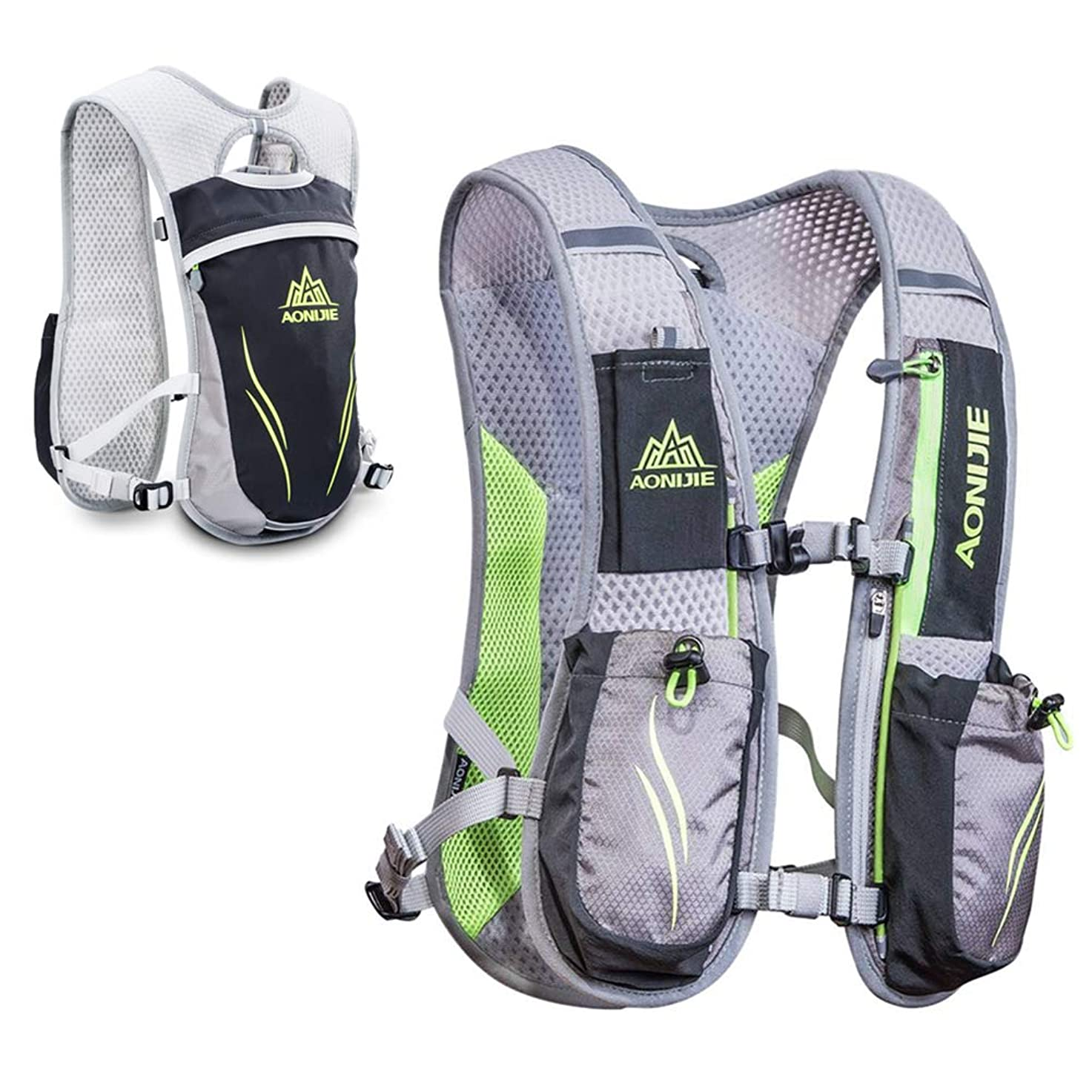 忙しいシェフサーバントWin.Deeper ハイドレーションバッグ ランニング バッグ 男女兼用 コンパクト アウトドアスポーツ 軽量 5.5L クライミング 登山 ボトル付き