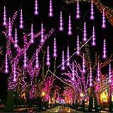 FUNPENY Meteor Shower Rain Lights, 288 LED Christmas Lights Icicle Snow Falling Christmas Lights Outdoor Raindrop Lights, 30cm 8 Tubes Xmas Tree Holiday Decoration (Purple)