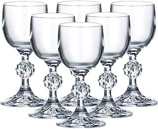 Set of 6 x 50 ml Stemmed Shot Glasses, 1.7 oz Vodka Cognac Brandy Shooters, Bohemia Crystal Glass, Lead Free