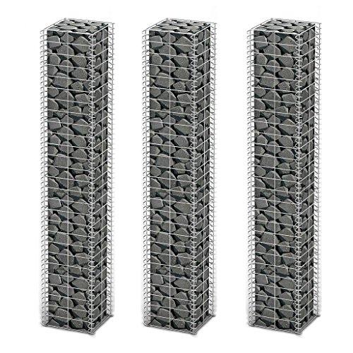 vidaXL 3X Gabione Verzinkter Stahl 25x25x150 cm Steinkorb Drahtkorb Mauer Wand
