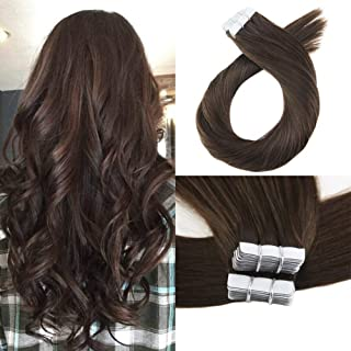 Moresoo 22 Inch Seamless Skin Weft Tape on Hair Extensions 40 Pieces 100 Grams #4 Brown Straight Brazilian Remy Human Hair Adhesive Hair Extensions PU Tape