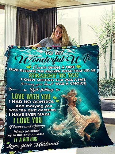 To My Wonderful Wife Wrap Yourself Up In This Manta Love Your Husband – Manta para esposa – Colcha para su dormitorio, sofá, hogar, manta de forro polar – Manta de sherpa premium