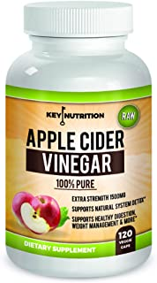 Apple Cider Vinegar 1500mg, 100% Organic, Pure & Raw – Healthy Blood Sugar, Weight Loss, Digestion & Detox Support - 60 Day Supply