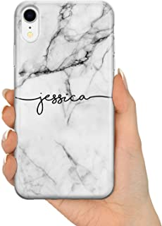 TULLUN Personalized Grey Black Marble Custom Name Initials Text Hard Phone Case Cover for iPhone - Grey Marble Name V1 - for iPhone 5c