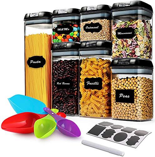 Leefrei. Vorratsdosenset - 7 teilig aus Kunststoff für Lebensmitteln wie Mehl, Zucker, Reis, Getreide, Müsli, Nüssen, Bohnen, Snacks, Nudeln, Spaghetti, Kaffee Tee und Tiernahrung