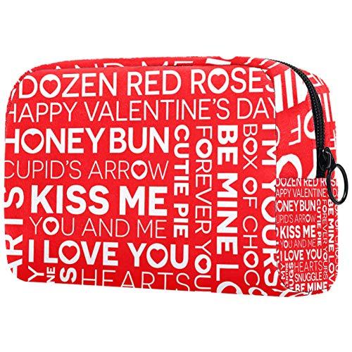 Kosmetische Reisetasche, Make-up-Fall, Make-up-Tasche, Geburtstagsgeschenk, Jubiläumsgeschenk - Valentinstag Geständnis Der Liebe Wort Rot