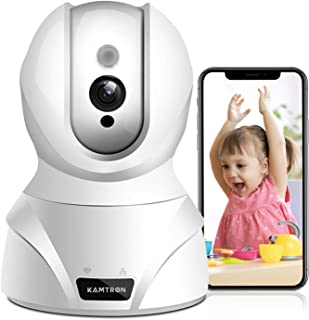 KAMTRON WLAN IP Kamera,KAMTRON HD WiFi Überwachungskamera,mit 350°/100°Schwenkbar,Home und Baby Monitor mit Bewegungserkennung, Zwei-Wege-Audio, Nachtsicht, unterstützt Fernalarm und Mobile App Kontrolle