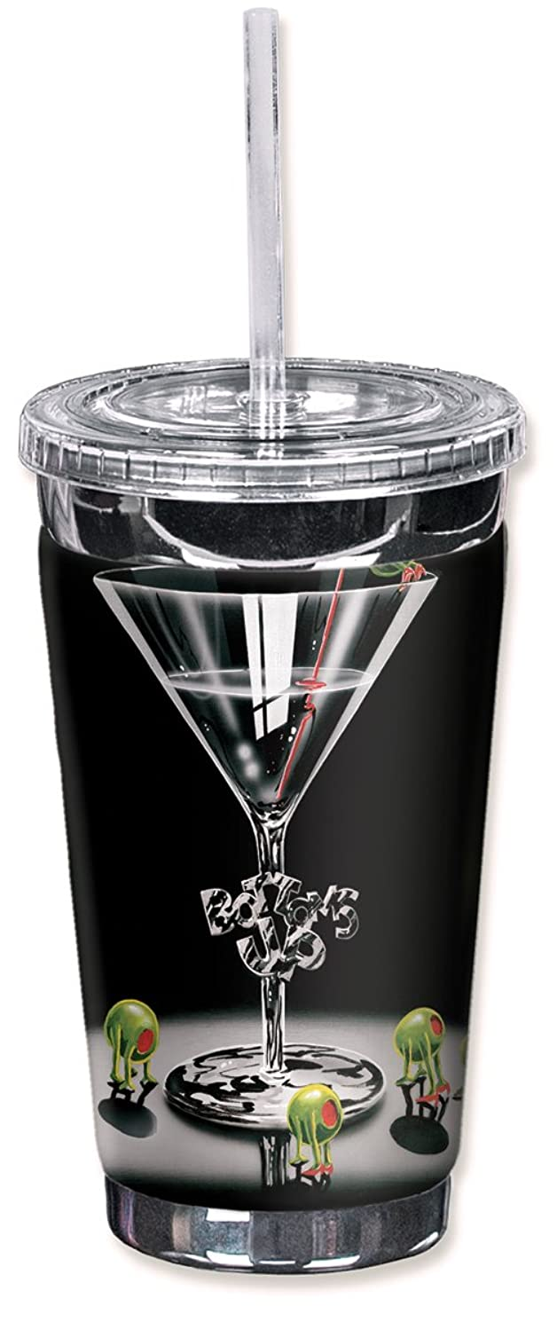 Mugzie brand 16-Ounce To Go Tumbler with Insulated Wetsuit Cover - Michael Godard: Bottoms Up