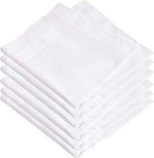 Kuber Industries Cotton 6 Piece Men's Handkerchief Set - White (CTKTC05660)