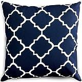 Utopia Bedding Decorative Square 18 x 18 Inch Throw Pillow - Navy & White Moroccan Quatrefoil Lattice Cushion Pillow