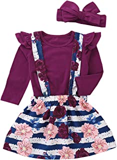 Fairy Baby Toddlers Baby Girls Dress Skirt Set Ruffle Tops Shirt Floral Overalls Outfit Set