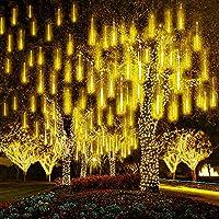 LEDストリングライト ツリー流星雨ライト30cm 10チューブ360LEDsガーデンメテオシャワーライト防水落下ライト雨滴ライトクリスマスツリーライト (暖かい白)