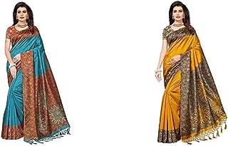 GoSriKi Women's Art Silk Saree With Blouse (Sky Blue)