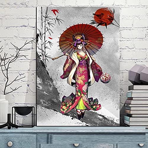 Puzzle 1000 piezas Kimono japonés dibujos animados paraguas niña retro puzzle 1000 piezas clementoni Gran ocio vacacional, juegos interactivos familiares50x75cm(20x30inch)