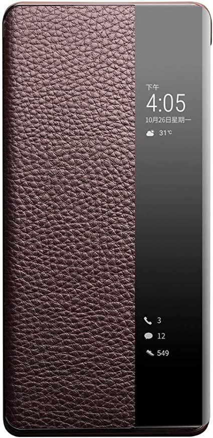 Mirror Flip Folio Cover con Soporte Plegable Carcasa de Cuero Espejo,Prima PU Cuero Case con Clear Ventana LEYAN Clear Smart View Funda para Huawei Mate 40 Pro Naranja Huawei Mate40 Pro