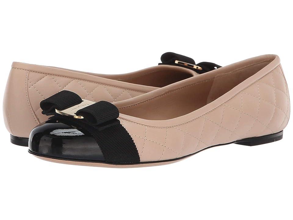 Salvatore Ferragamo Varina Quilted Flat (Nero Patent) Women