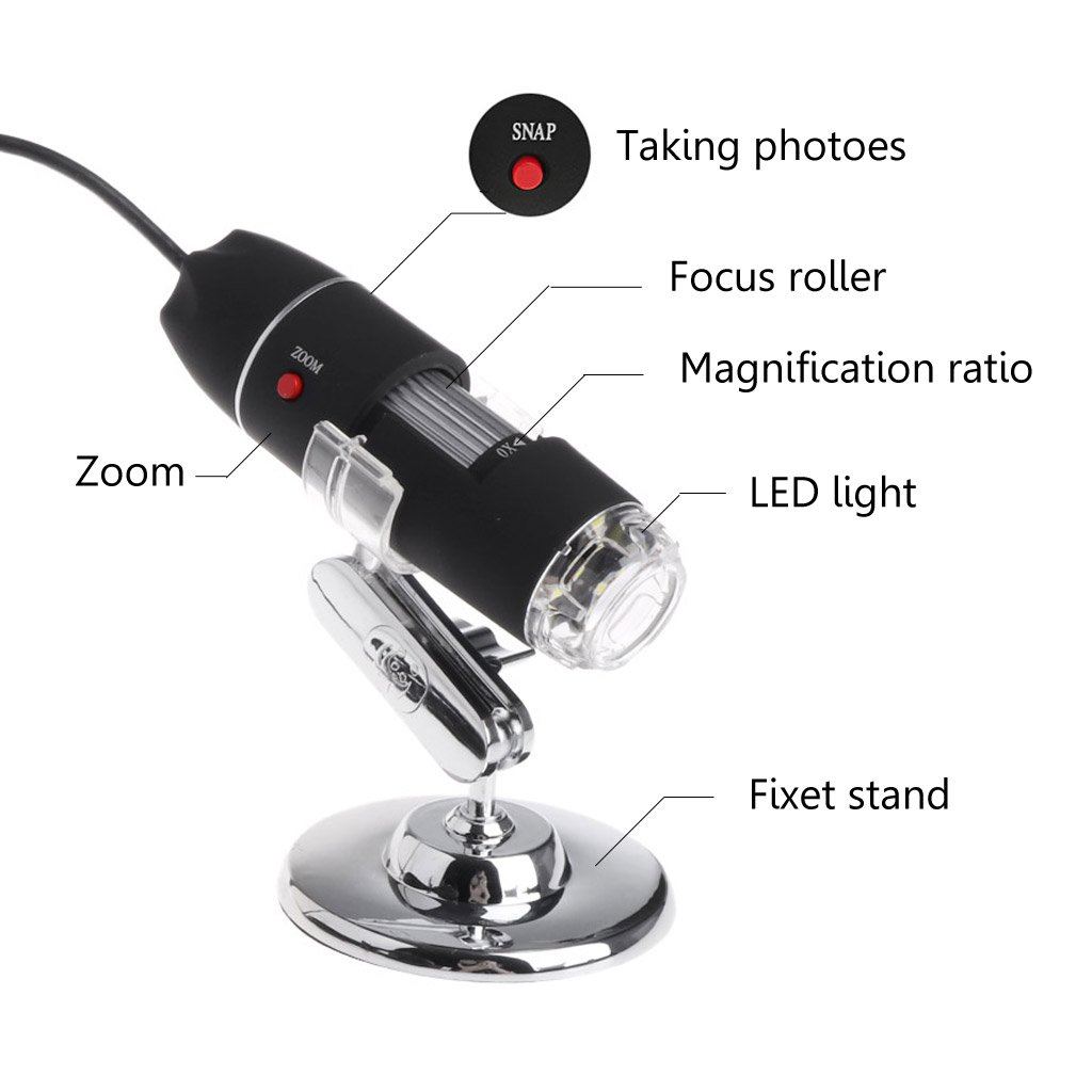 Sweo 1600X USB Digital Microscope with Hold Stand Magnification Stereo Endoscope Camera 8 LEDs