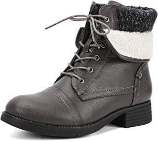 Moda Chics Leather Ankle Boots for Women Combat Boots