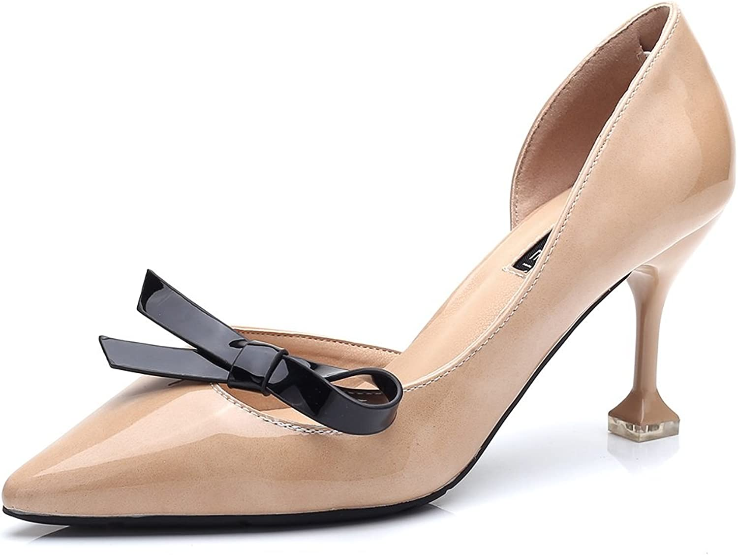 Women's shoes Leatherette Fall Heels Walking shoes Stiletto Heel Bowknot for Office & Career Dress Party & Evening