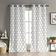 Duck River Textiles - Mason Geometric Linen Textured Grommet Top Window Curtains for Living Room & Bedroom - Assorted Colors - Set of 2 Panels (38 X 112 Inch - Gray)