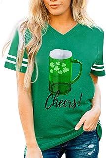 "Doublehero Damen Kleeblatt Druck Tshirt Lässige St. Patrick""s Day Kostüm Kurzarm-Shirt Leprechaun Top Bluse Träger Sweatshirt Frau Irland Shirt Patrick T Shirt S, B"