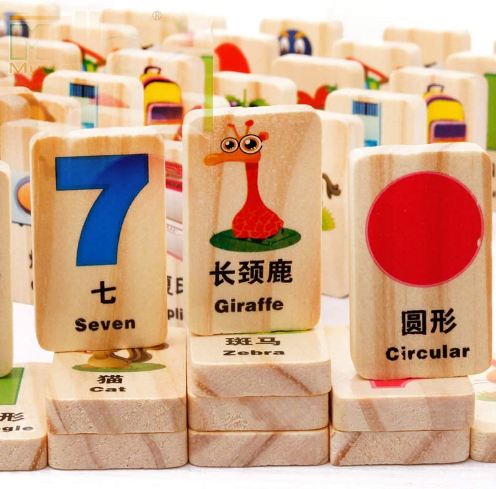 ACHICOO 100Pcs Box Funny Domino Game Kids Wooden Superior Ranking integrated 1st place Ear Blocks Play