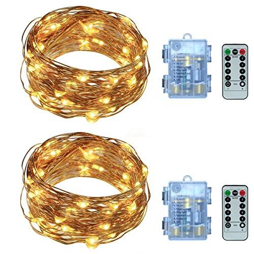 Yasolote 2 PACK 6.3M Luce di Stringa di Filo di Rame 60 LED Luci Impermeabili Batteria e Telecomando per Natale o Evidenziare Qualche Figura Decorativa Bianco Caldo