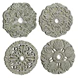 Grasslands Road Medallion Wall Décor - Art Wall Décor And Gift, Cement/Glass, 6 By 6 Inches, Set Of 4