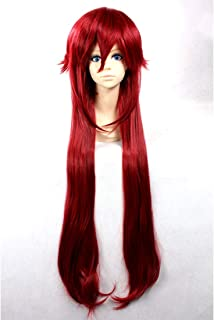 HOOLAZA Wine Red Extra Long Layered Wig Pandora Hearts Alic Black Butler Grell Sutcliff for the Halloween Party Cosplay Wig