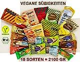 Veganz Süßigkeiten Box mit 18 Sorten - Schokolade - Kekse - Gummibärchen - 2100 GRAMM - Vegan Sweets - Geschenk-Set - Für Veganer - BIO (Süssigkeiten Box, XL)