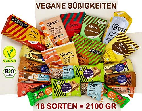 Veganz bonbondoos met 18 soorten - chocolade - koekjes - gummyberen - 2100 GRAM - veganistische snoepjes - cadeauset - voor veganisten - biologisch (Bonbondoos Box, XL)