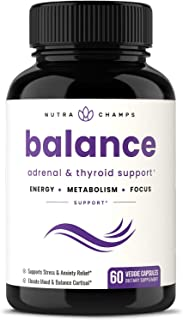 Thyroid Support & Adrenal Support Supplement 2-in-1 Natural Formula with Iodine & Ashwagandha for Energy, Metabolism, Focu...