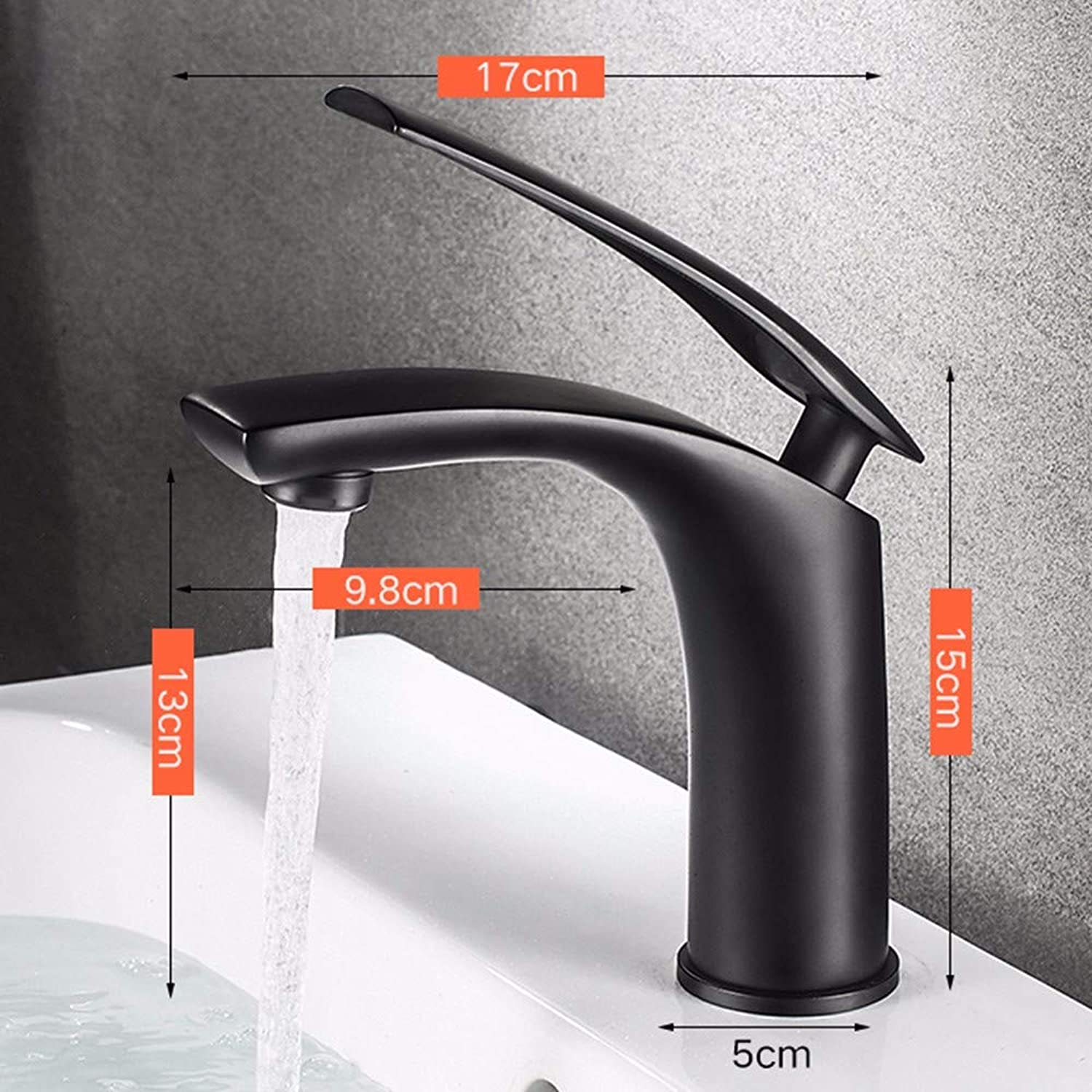 Bathroom taps Cascade Type Copper Table, Basin, washbasin, Basin, taps, Bathroom Cabinet, Bathroom, Single-Hole taps,Black,15cm