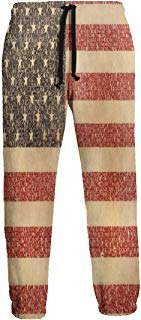 NTQFY Typography Flag American Flag USA Sweatpants for Men Durable Drawstring Pants for Jogging Gym Hiking