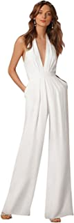 Women's Sexy High Waisted Jumpsuits V-NeckHalter Wide Leg Long Pants Wedding Rompers Overalls Pockets