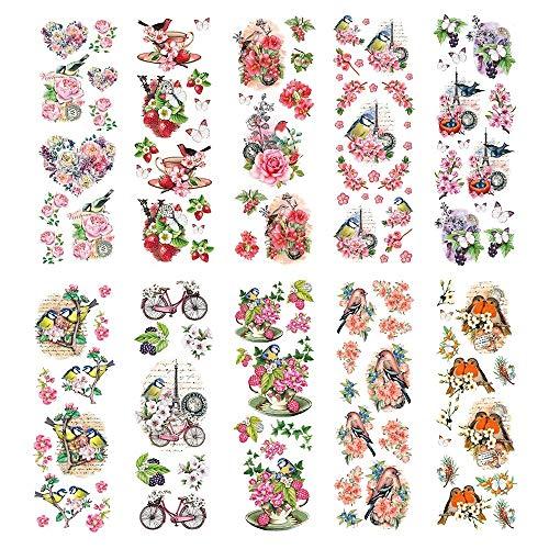 Ideas con corazón transparente pegatinas de 10 hojas de 10 cm x 30 cm pegatinas coloridas para manualidades y decoración