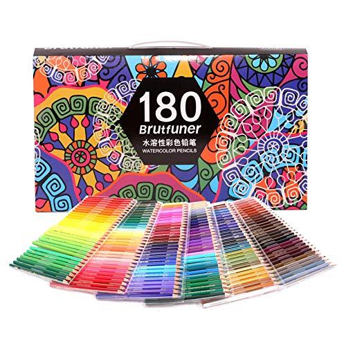Lápices acuarelables profesionales, numerados, 180 lápices de colores con pincel, borrador y sacapuntas, juego de lápices de colores para libros de colorear para adultos Dibujo de artista Bocetos