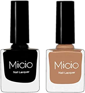 MICIO Long Lasting Nail Polish Combo with Professional Brush Sets Of 2, 8 ml Each (Sinful Black & Sandstorm Brown)